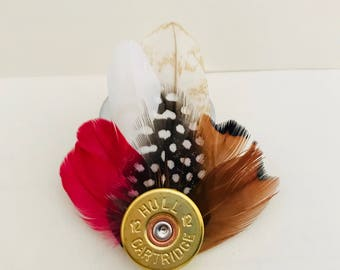 Small Gun Cartridge Feather Brooch Red