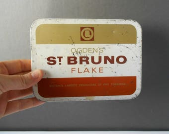 Tobacco Shabby Chic Advertising Tin  Vintage Ogdens St Bruno Flake Pipe TobaccoLarge Tin