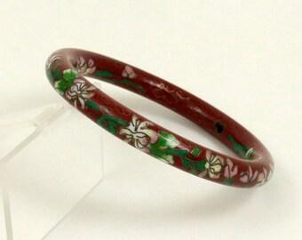 Vintage Chinese Cloisonne Bangle Bracelet Red Brown Enamel Floral Bangle Oriental Bracelet Chinese Enamel Bangle