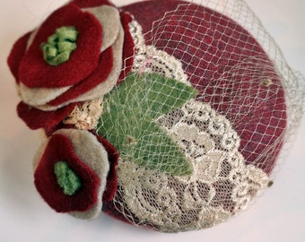 Red and Cream Wool and Lace Fascinator