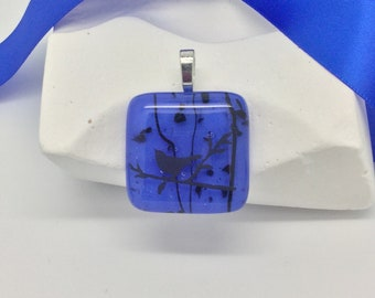 Bird Pendant-Periwinkle Blue Fused Glass Pendant, Large Square Pendant