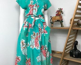 Vtg 80s Gerard Darel avant garde print dancing women cutout summer dress