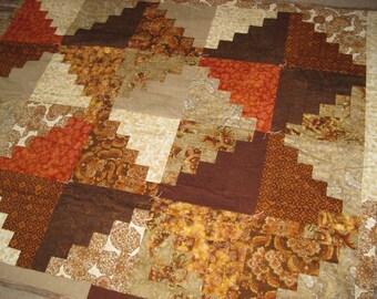 Brown Log Cabin Quilt Blanket