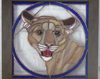 Stained Glass Mountain Lion Panel