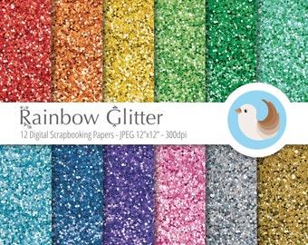Glitter Digital Paper - Rainbow Glitter Digital Paper - Set of 12 Digital Scrapbooking Papers