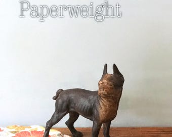 Antique Boxer Doorstop, Dog Paperweight, Rustic French Bulldog, Cast Iron Boxer, Gifts For Dog Lovers, Rusty Weathered, Dog Paper Weight