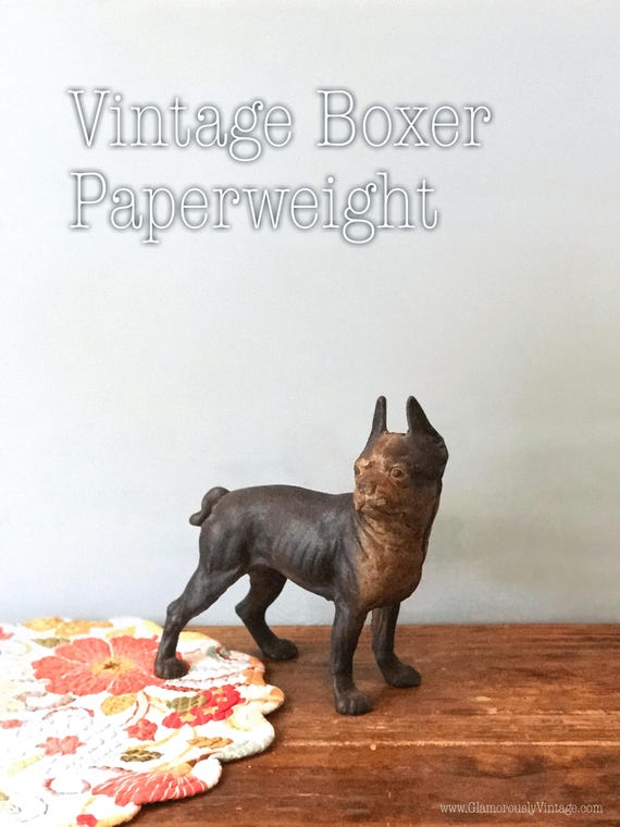 Antique Boxer Doorstop Dog Paperweight Rustic French