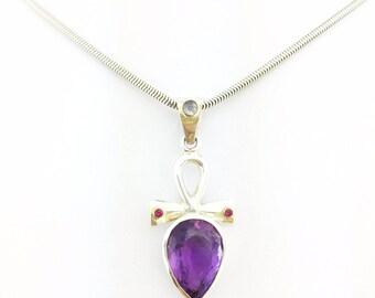 Anhk Teardrop Amethyst Ruby & Moonstone Gold Plated Pendant Purple 925 Sterling Silver 5.64 grams