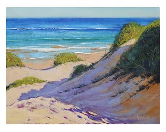 Beach print , painting prints, beach scene, beach picture , sand dunes downloadable prints from my Original Oil Painting