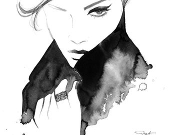 She's Better Left Unfinished, print from original mixed media fashion illustration by Jessica Durrant