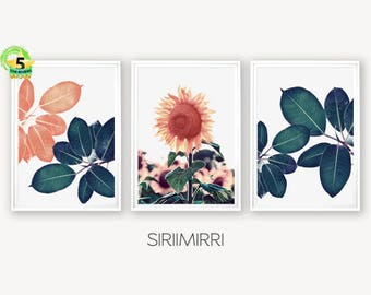 Tropical Leaves Print Set of 3 Prints Leaf Print Tropical Decor Green Leaves Botanical Print Set Blush Pink Sunflower Modern Floral Wall Art