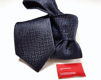 Silk Tie in Stripes of Midnight Navy Blue and Black