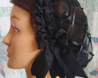 Mourning Black Ribbon Hairnet with choice of Ribbon Coronet- black, lavender or deep purple