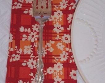 Serviette, serviettes à carreaux Orange, automne jolie fleurs, serviettes en tissu déjeuner d'automne