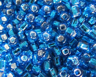 6 / 0 Seed Beads,Turquoise Silver LIned, Seed Beads,  10 grams Seed Beads, 5134, Turquoise, Silver LIned, Japanese Seed Beads Item #215