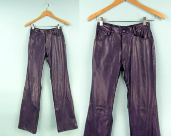 90s Faux Leather Pants, Vintage Purple Flares, Size Extra Small, Size 25 Waist,  Pleather, PU, Vinyl, Club Kid, Raver,