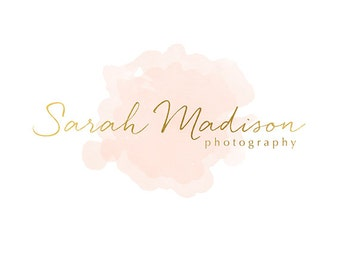 Pre-made Logo Design & Photography Watermark - Watercolor logo - Gold Logo - Watermark Design - Photography Logo - Premade Logo Design 741
