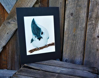 "Original watercolor ""Theo"" Bird, Matted art, Artwork, Painting, Wall art, Blue bird, Baby bird, Nursery, 8x10"", Baby shower, Gift, Painting"