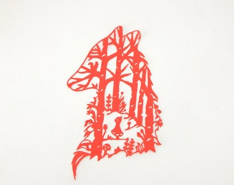 Red riding hood paper cut. Paper cutout art. Fairy tale art.  Red riding hood and wolf.  Nursery woodland wall art. Whimsical paper cutting.