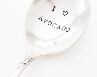 """vintage """"I heart avocado"""" hand stamped spoon"""