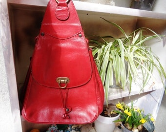 "Vintage leather backpack,Genuine leather backpack  ""HEXAGONA"""
