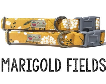 "Shabby Chic Marigold Gold Yellow Gray White Girly Vintage Inspired Floral Flowers Dog Collar - Antique Metal Hardware - ""Marigold Fields"""