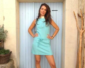 Robe mini en cotton des années 60 turquoise, taille S / M