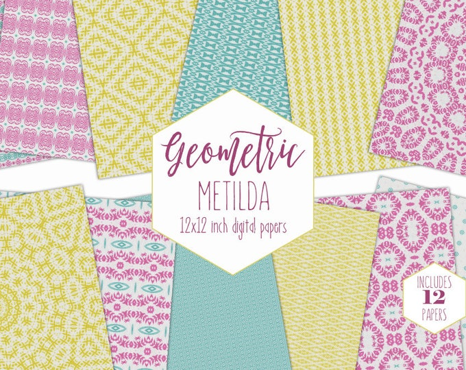 PINK FLORAL MEDALLION Digital Paper Pack Mandala Backgrounds Summer Scrapbook Papers Yellow Boho Patterns Party Printable Geometric Clipart