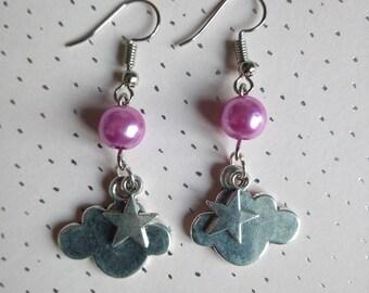 Star Cloud earrings - pink