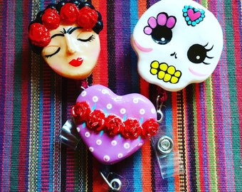 Frida sugar skull or heart badge reel