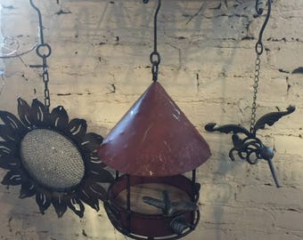 Steel Heart Spring Summer and Fall Garden Hanging Birdbath & Bird Feeder
