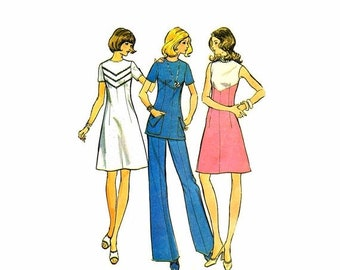 SALE 1970s Misses Dress Tunic Pants McCalls 3556 Vintage Sewing Pattern Size 12 Bust 34 UNCUT