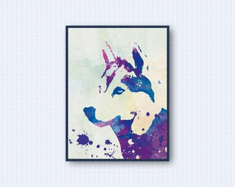 Siberian Husky Watercolor Poster 2