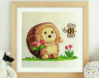 Downloadable Cross Stitch Pattern Digital Format Download PDF Hedgehog Crosstitch Counted Embroidery Sewing Hobby Woodland