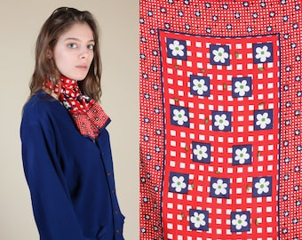 Vintage Mod Floral Scarf | 60s 70s Red White & Blue Boho Ascot