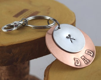 Lacrosse Dad sports fan hand stamped keyfob keyring keychain Makes a GREAT Father's Day gift