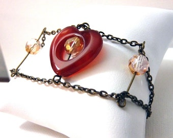 Warm Heart Chain Bracelet - Adjustable Length - Antiqued Brass