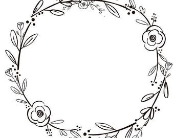 Black Clipart Flowers Handdrawn Wreath Minimalist Rustic