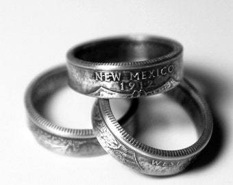 Handcrafted Ring made from a US Quarter - New Mexico - Pick your size