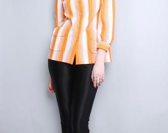 1970's Dalton Orange Striped Top / 70s Medium Polyester Knit Top / Medium