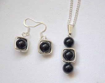 Black onyx agate gemstone dangle earrings necklace set Valentine gift for her silver plated elegant summer jewellery UK jewelry