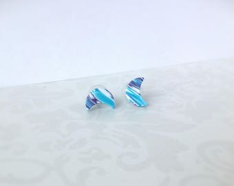 Polymer clay earrings ,Stud earrings , Everyday earrings , Turquoise earrings , Modern earrings, Small earrings, Contemporary jewelry