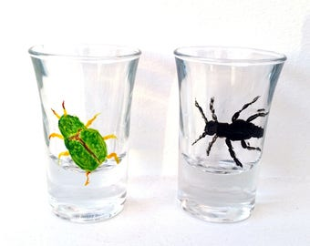 Beetle shot glasses hand painted