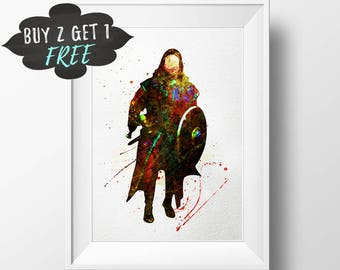 Lord Of The Rings Decor, Boromir Lord Of The Rings Wall Art Print Lotr, The Hobbit, Tolkien, Middle Earth Printable Watercolor Decor Poster