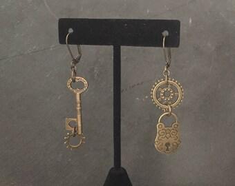 Lock & Key with Gear Earrings