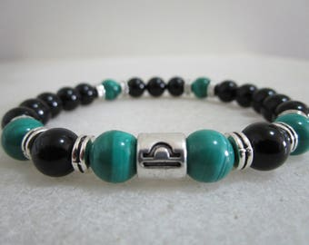 Bracelet for zodiac sign Libra Pullsera of Onyx and Malachite Bracelet for men Gift for men Zodiac jewelry Bracelets for beads Mens jewelry