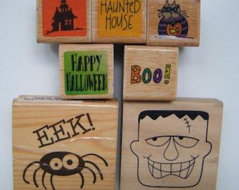 Halloween Collection Frankenstein BOO! Scary Spider Rubber Stamp Set