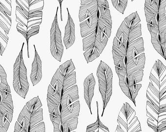 """Feathers"" graphic black and white cotton fabric"