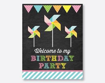 Instant Download, Pinwheel Welcome Sign, Pinwheel Birthday Sign, Pinwheel Door Sign, Pinwheel Party Printable, Chalkboard (CKB.08)