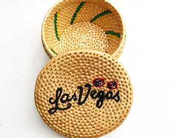 Vintage Las Vegas Straw Basket w/ Lid